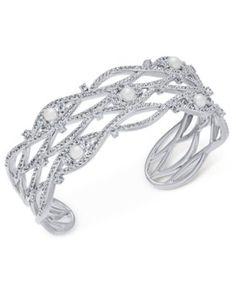 178ad7c148da4 Danori Silver-Tone Imitation Pearl Cubic Zirconia Maeva Cuff Bracelet