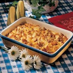 Sausage and Egg Casserole made with bread. Perfect to use up stale bread.