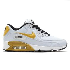 NIKE AIR MAX 90 PREMIUM QS GS PURE PLATINUM/MTLC GLD CN-BLCK - Mens ShoesNIKE RUNNINGAIR MAX 90 - |Sports Lab by atmos