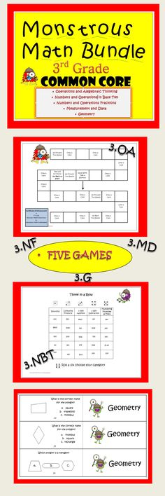 This unit of Monstrous Math Games for Third Grade includes the following five games: Operations and Algebraic Thinking Numbers Operations in Base Ten Numbers and Operations Fractions Measurement and Date Geometry Great file folder games for centers. Your students will have fun while they are mastering skills. Each game may be purchased separately. Save $4.00 by purchasing as a bundle. On Sale at TpT.