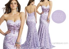 Camille La Vie Venetian Lace Prom dress with Sweep Train in Beautiful Lilac