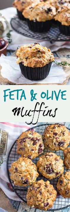 Savoury Feta & Olive Muffins.  Great for breakfast, lunch or dinner.