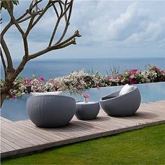 Designer Pages - Circle Chair Round WIcker Lounge Chair Wicker Lounge Chair, Pool Lounge Chairs, Wicker Patio Furniture, Pool Furniture, Modern Outdoor Furniture, Outdoor Lounge, Home Decor Furniture, Outdoor Chairs, Outdoor Decor