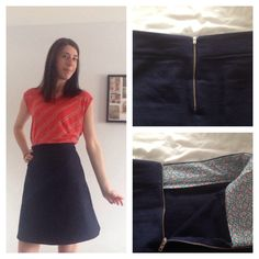 Delphine skirt (Tilly and the Buttons pattern) in navy cotton drill #loveatfirststitch