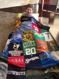 What to do with the tees the kids grow out of? T-Shirt Blanket Birthday Gift!