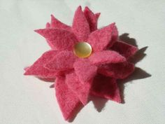 Flower Pin No081 Pink Cashmere with Yellow Vintage Button