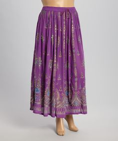 The OM Company Purple Embellished Maxi Skirt | zulily