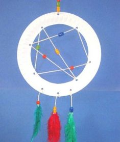 Paper plate dream catcher.  How about this in a Native American unit?