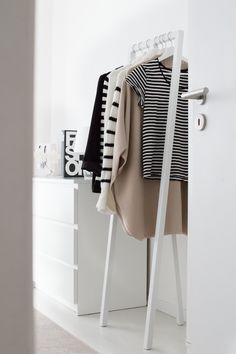 Clothes rail for tomorrow's outfit.