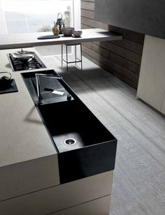 Decoration:Adorable Twenty Cemento Kitchen With Black Marble Tile Kitchen Sink Modern Faucet On Huge Light Brown Kitchen Island With Pull Push Kitchen Shelves Brown Kitchen Ornaments Stainless Pan Electric Stove Industrial Kitchen Stylish: Adorable 20 Cemento Kitchen Presented by Modulnova