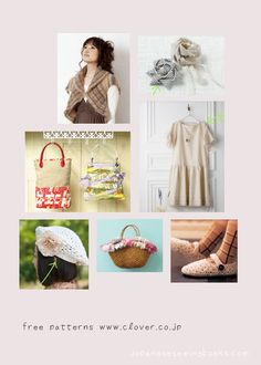 Free Japanese Patterns – Clover » Japanese Sewing, Pattern, Craft Books and Fabrics everything is in Japanese but have great instructions