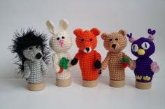 Forest animals, Finger Puppets, Crochet Hedgehog, Fox toy, Bunny puppets, Crochet Owl, Toddler Toy, Waldorf toy, Baby Shower Gift, Montessori figures .  There are handmade finger puppets for kids. There are adorable set of toys. They are crocheted from acrylic yarn and filled with fyberfill. Finger Puppets are great gifts for kids. They are funny and amazing. Game with finger puppets develops childrens imagination.  The set of finger puppets includes:  - bear;  - fox;  - bunny;  - hedgehog…
