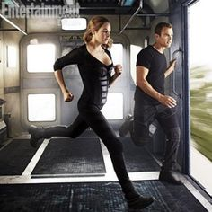 Picture from the Divergent movie of Four and Tris getting ready to jump off of a train!!
