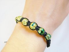 Green Lime and Blue Crystal Bead Bracelet by LadyRebelDesigns, $22.00