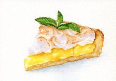 Slice of Lemon Meringue Pie - ORIGINAL Painting (Desset Illustration, Still…