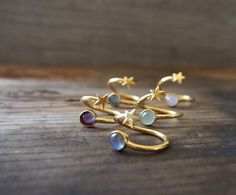 Sun & Star Dual Ring Golden Statement Ring Adjustable by LUSIX
