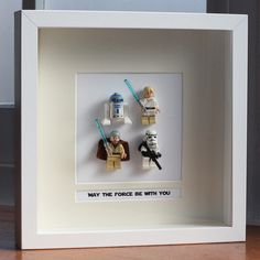 Star Wars Lego Mini Figures Framed in shadow box with quote - cute gift for a boy