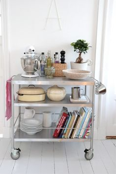 DIY Organizing Ideas for Kitchen - Stainless Kitchen Cart - Cheap and Easy Ways to Get Your Kitchen Organized - Dollar Tree Crafts, Space Saving Ideas - Pantry, Spice Rack, Drawers and Shelving - Home Decor Projects for Men and Women http://diyjoy.com/diy-organizing-ideas-kitchen