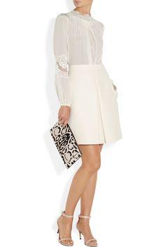 Dolce & Gabbana|Lace-trimmed silk crepe de chine blouse|NET-A-PORTER.COM