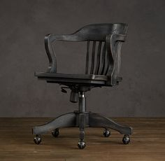 1940s Banker's Chair Antiqued Black -- this would be a serious splurge item, but they're the PERFECT office chair for our setup and have the option of adding a sand colored linen cushion. I wonder if I can find a knockoff?