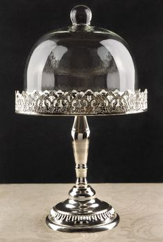 Beautiful Glass Dome Silver Plated Desert Stand