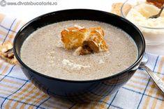 supa-crema-ciuperci-cu-gorgonzola Yummy Food, Tasty, Oatmeal, Deserts, Soup, Cooking Recipes, Pudding, Breakfast, Mariana
