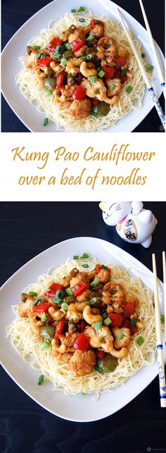 """Kung Pao Cauliflower"", an exquisite dish from the Chinese cuisine featuring my favorite cauliflower. Cauliflower sauteed in a sweet, tangy, spicy sauce and served over a bed of noodles. Very easy to make and bowl licking good."