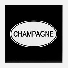 Champagne Euro Oval black Tile Coaster for