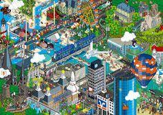 Incredible Pixel Art by eBoy - TheArtHunters Pixel Art, 3d Pixel, Weird Art, Comic Book Artists, Amusement Park, Digital Illustration, Amazing Art, Illustrators, Scenery