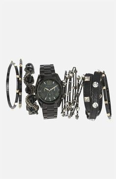 All black watch with rock 'n' roll accessories. #stackedwrist #Nordstrom