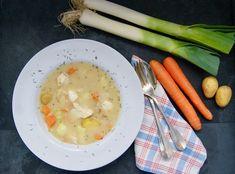 Velouté de poulet Menu, Eggs, Breakfast, Food, Carrot, Chicken, Seasonal Recipe, Dressing, Menu Board Design