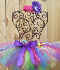 CRAZY PARTY Ribbon Tutu with Matching Free Flower Headband - Sizes Newborn to 5T. $30.99, via Etsy.