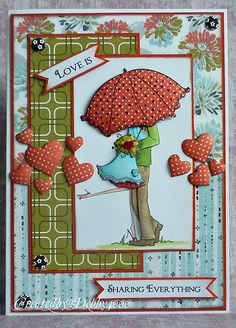 Stampin Bella Uptown Couple Emily and Ryan under the Umbrella - have this stamp - love the paper piecing - bjl