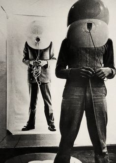 TV Helmet (The Portable Living Room), by Walter Pichler, 1967