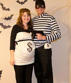 Robber and Money Bag | 10 Halloween Costume Ideas for Expectant Mothers