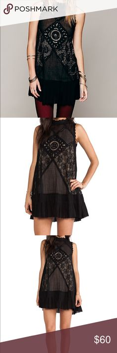 Free People High Neck Black Angel Lace Mini Dress ✨ Bundle & Save, No Trades, Great Condition ✨ Free People Dresses Mini