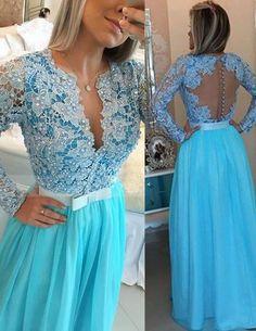Long Sleeve Lace Evening Dress V-neck Blue Chiffon Prom Dress Long Sleeve Lace Evening Dress V-neck Blue Chiffon Prom Dress