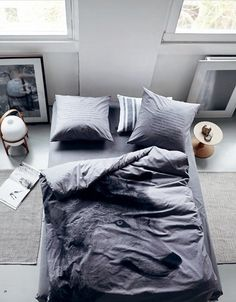 Chambre, bedroom, bed, wolf, fashion, trend, penthouse, house, home, loft, apartment, grey