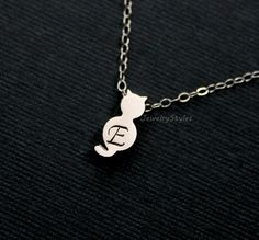 Whimsical Silver Cat Necklace Personalized Cat by JewelryStyles, $24.50