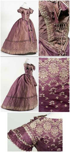 Handstitched dress, taffeta with brocade velvet, (Belonged to Empress Carlota of Mexico?) Collection of Museo Nacional de Historia, Castillo de Chapultepec. Victorian Gown, Victorian Costume, Victorian Fashion, Vintage Fashion, Old Fashion Dresses, Old Dresses, Vintage Gowns, Vintage Outfits, Civil War Fashion