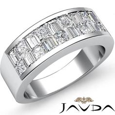 Princess Baguette Invisible Set Diamond Men Wedding Band Platinum 950 Ring 1.40ct