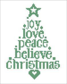 BOGO FREE! Merry Christmas - Christmas Tree Joy Love Believe Peace Cross Stitch…