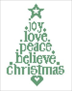 BOGO FREE! Merry Christmas - Christmas Tree Joy Love Believe Peace Cross Stitch…