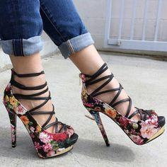 Black Floral Strappy Platform Heels