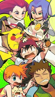 Ash, Misty, Brock, Pikachu, Togepi, Meowth, Jessie, James, Team Rocket, funny; Pokemon