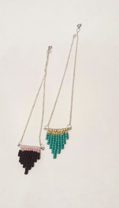 Seed bead chevron necklaces available now!