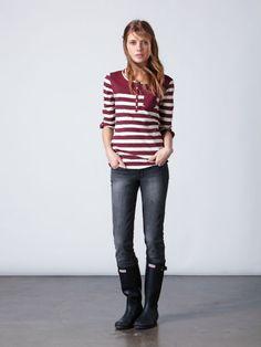 Skyline Stripe Henley Shirt and Lorne Skinny Storm Black Jeans- Quiksilver Womens