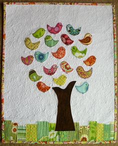 70 Ideas Family Tree Quilt Babies Clothes For 2019 Fabric Art, Fabric Crafts, Sewing Crafts, Quilting Projects, Quilting Designs, Sewing Projects, Bird Quilt, Tree Quilt, Quilt Baby