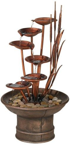 Water Lilies and Cat Tails Water fountain for the yard - beauty and relaxing sounds #WaterFountains #Garden