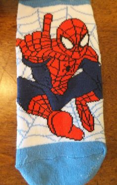 NWT Spider-Man Boys Socks Size 6.5-8 US Marvel Comics White Blue Spider-Man Web